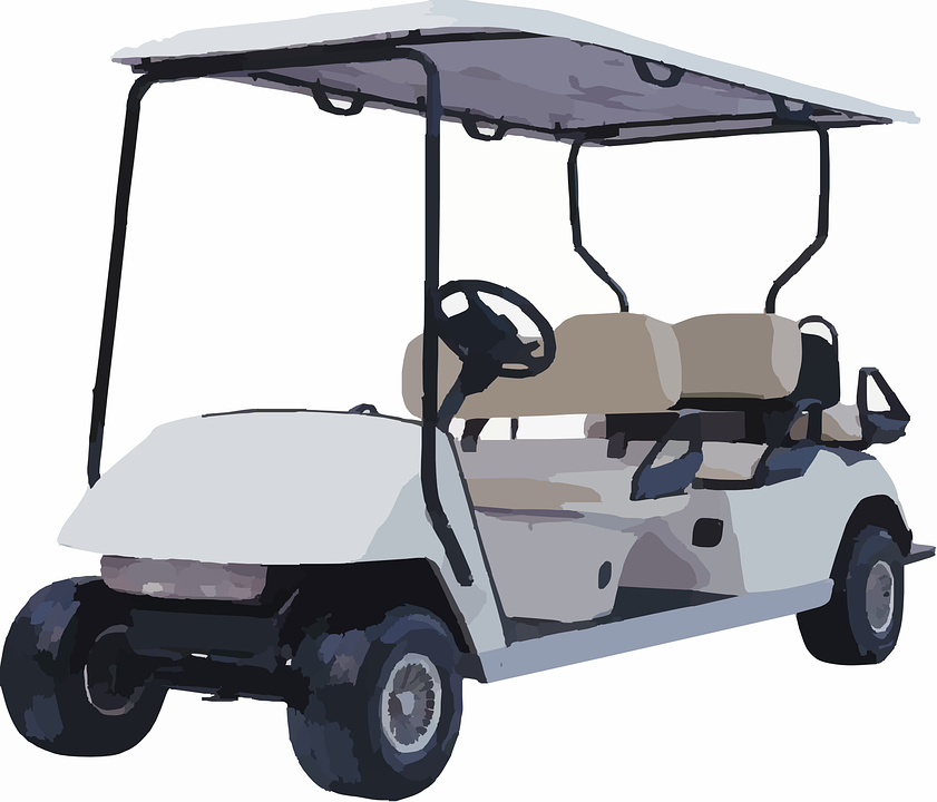 illustration of a white-colored golf cart