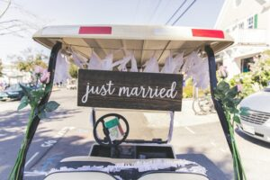 Golf cart used at a wedding ceremony