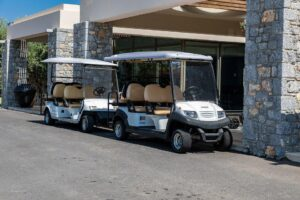 golf carts next to a recreational facility