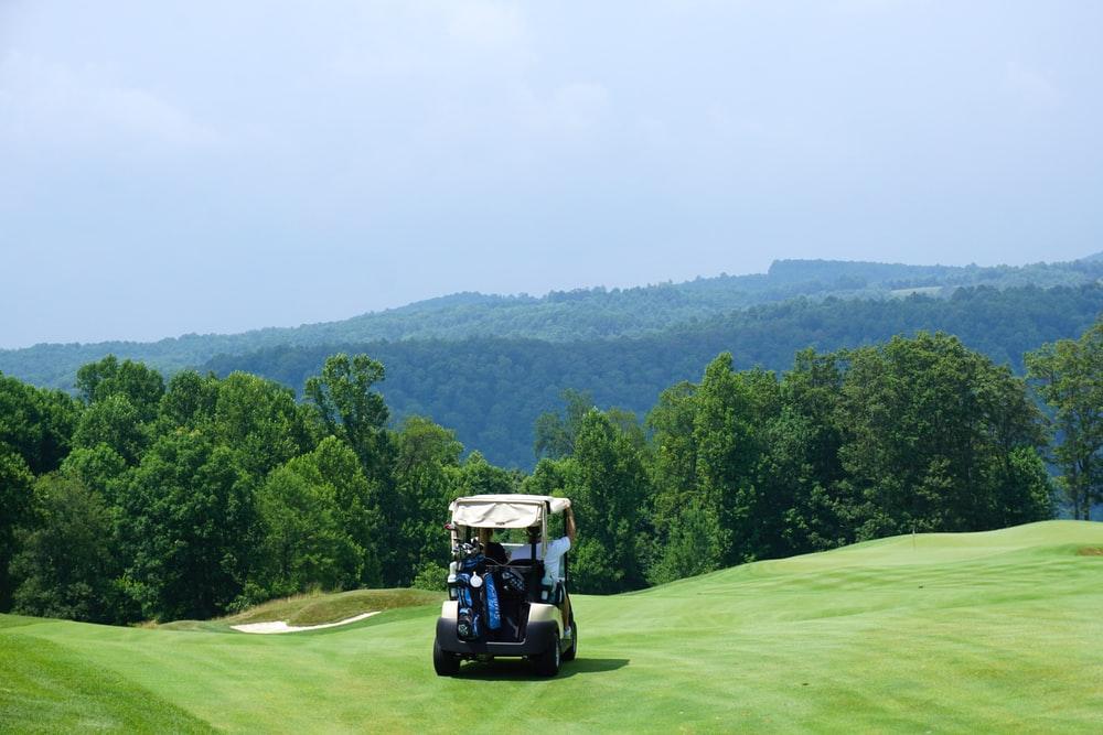 golf cart on a green golf course